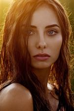 iPhone fondos de pantalla Chica de cabello castaño, luz de fondo