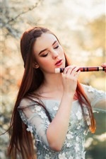 Preview iPhone wallpaper Brown hair girl, flute, owl