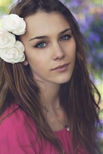 Preview iPhone wallpaper Brown hair girl, green eyes, white flowers