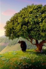 Preview iPhone wallpaper Bull, tree, grass, wildflowers, cartoon movie