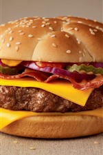 Preview iPhone wallpaper Burger close-up, fast food