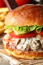 Preview iPhone wallpaper Burger, sandwich, cucumber, fast food