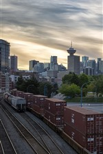 Preview iPhone wallpaper Canada, Vancouver, city, railroad, container, dusk