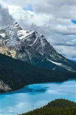 Canada, nature landscape, lake, trees, mountains, snow, clouds