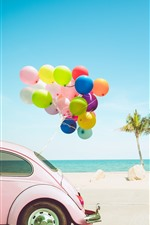 Car, colorful balloons, palm trees, sea, tropical