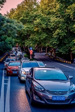 Preview iPhone wallpaper Cars, road, trees, traffic