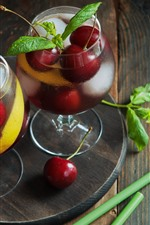 Preview iPhone wallpaper Cherry, lemonade, drinks, glass cups