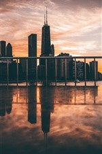 Preview iPhone wallpaper Chicago, city, dusk, skyscrapers, fence, USA