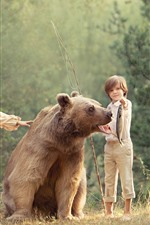 Preview iPhone wallpaper Child girl and boy, brown bear, fish