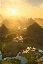 Preview iPhone wallpaper China, beautiful countryside landscape, mountains, top view, sunshine, morning