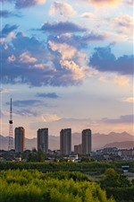 Preview iPhone wallpaper China, city, buildings, trees, clouds, dusk