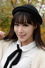 Preview iPhone wallpaper Chinese girl, white dress, black hat