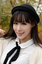 iPhone fondos de pantalla Niña china, vestido blanco, sombrero negro