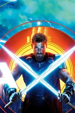 Preview iPhone wallpaper Chris Hemsworth, Thor 3, two swords