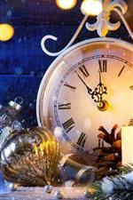 Christmas ball, snow, clock, light circles