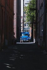 Preview iPhone wallpaper City, alley, car