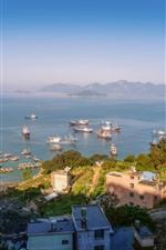 Preview iPhone wallpaper City, coast, pier, ship, houses, sea, islands