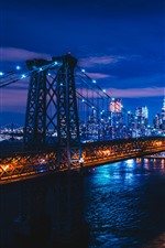 Preview iPhone wallpaper City night, bridge, river, illumination, New York, USA