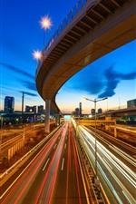 iPhone обои Город ночь, эстакада, шоссе, огни линии, скорость, Токио, Япония