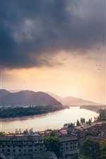 Preview iPhone wallpaper City, river, houses, mountains, clouds, sky, dusk, China