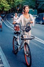 City, road, girls, cars, bike