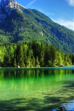 Preview iPhone wallpaper Clear water, lake, trees, mountains, summer