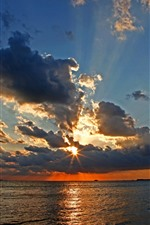 Preview iPhone wallpaper Clouds, sea, sunset, sun rays