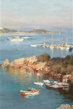 Preview iPhone wallpaper Coast, sea, boats, pier, oil painting