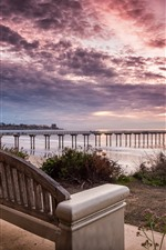 Preview iPhone wallpaper Coast, sea, pier, bench, clouds, sunset