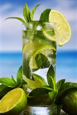 Preview iPhone wallpaper Cocktail, limes, mint, drinks, glass cup