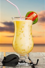 Preview iPhone wallpaper Cocktail, summer drinks, sunglasses, sea