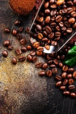 Preview iPhone wallpaper Coffee beans, green leaf, powder