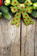 Preview iPhone wallpaper Colorful Christmas balls, decoration, wood board