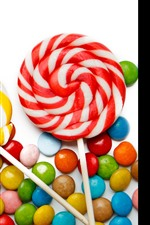 Preview iPhone wallpaper Colorful candy, lollipops, white background