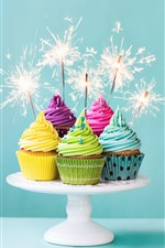 Preview iPhone wallpaper Colorful cupcakes, cream, fireworks, sparks, Birthday