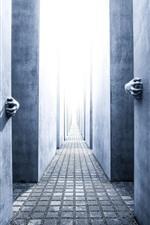 Preview iPhone wallpaper Corridor, wall, hands, light, horror