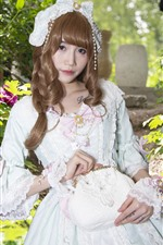 Preview iPhone wallpaper Cosplay girl, white skirt, flowers