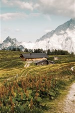 Countryside, houses, path, mountains