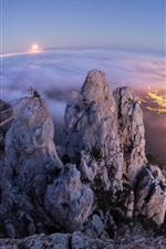 Preview iPhone wallpaper Crimea, Gaspar, Yalta, city, top view, high, night