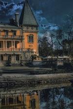 Crimeia, Yalta, Massandra, castelo, lagoa, árvores, nuvens, noite, lua