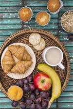 iPhone обои Круассаны, кексы, яблоко, земляника, виноград, банан, кофе