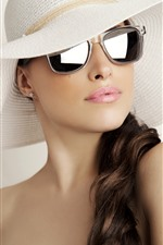 Preview iPhone wallpaper Curly hair girl, hat, sunglass