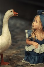 Preview iPhone wallpaper Cute blonde little girl and goose