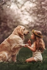 Preview iPhone wallpaper Cute little girl and dog, wreath, meadow