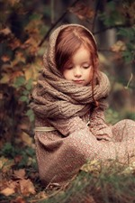 Preview iPhone wallpaper Cute little girl, red hair, scarf, red berries, nature