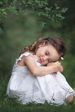 Preview iPhone wallpaper Cute little girl sit on ground, white skirt, nature
