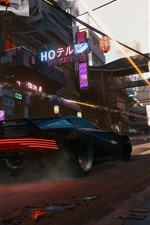 Preview iPhone wallpaper Cyberpunk 2077, E3 games, city, Japan, car