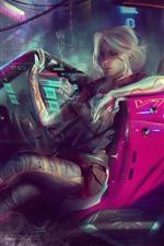 Preview iPhone wallpaper Cyberpunk 2077, girl, car, art picture