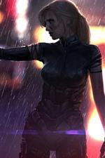 iPhone fondos de pantalla Cyberpunk 2077, niña, cyborg, pistola, lluvia