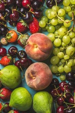 Preview iPhone wallpaper Delicious fruits, grapes, peaches, cherries, strawberries